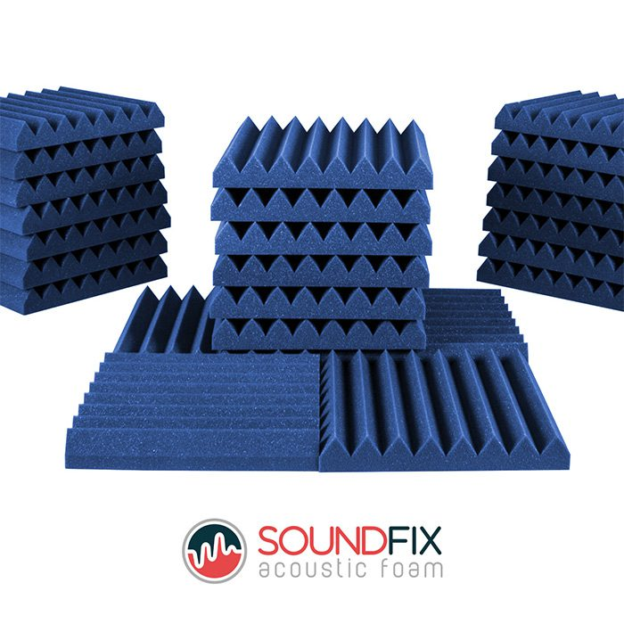 blue acoustic foam tiles