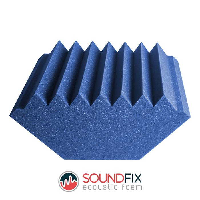 blue acoustic foam corner trap