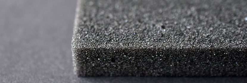 a sheet of foam with open cells